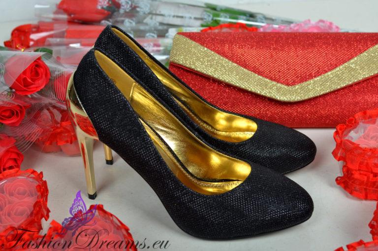 Mustad kingad kuldse kontsaga-0