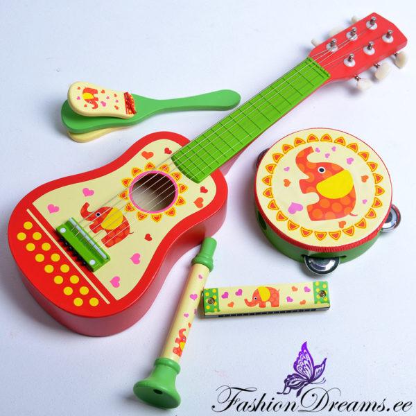 Puidust muusikariistade komplekt lastele