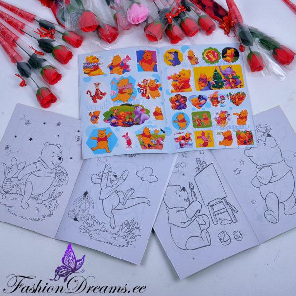 Karupoeg Puhh kleepsudega värviraamat